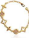 U7 kvinnors armband europeiskt varumärke märkvärdigt 18k äkta guld platina strass kedja 19cm