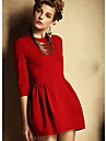 Mifeier Women's Round Neck Solid Color 3/4 Sleeve Dress