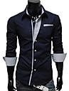 LangTuo Stripes maneca lunga Slim Shirt (Navy Albastru)