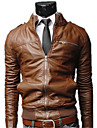 LangTuo Short Type Slim Stand Collar Orsaks Tvätt Locomotive Leather Coat (Light Brown)