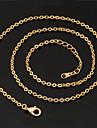 U7 18k äkta guld platina kätting choker halsband hänge justerbar 2.7mm 22inches 55cm