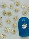 200st charm snöflingan form gyllene metall skiva nagel konst dekoration