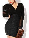 Women's Chiffon Long Lantern Sleeve Dress