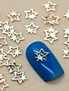 200pcs or conception à double étoile tranche de métal art de la décoration des ongles