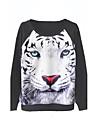 Women's 3D Leopard's Print Long Sleeves Pullover Hoodie Sweatshirt