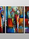 modern abstrakt oljemålning med sträckt ram uppsättning av 3 handmålade duk