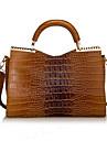blkl mode krokodil mönster lackläder handväska handväskan (brun)