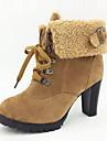 Suede Chunky Heel Boots med spänne