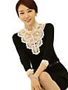 YGR Kvinnors Black Lace Print Stand Neck tröjor
