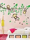 zooyoo® detașabile frumoase copac plin de culoare și două bufnite autocolant perete home decor autocolante de perete pentru camera copii