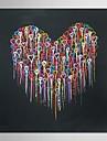 abstrakt modern oljemålning handen målade konst smältande hjärta med sträckt ram museum kvalitet mäster