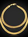 or 18 carats bracelet chaîne collier chunky rempli mettre de haute qualité de U7 hommes avec le timbre 18k 5mm 55cm