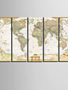 Stretched Canvas Art World Map Set med 5
