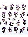 halv täck blomma stil nagel klistermärken xf1250