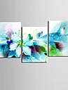 canvas uppsättning 3 moderna abstrakta blå blommor sträckt kanvastryck redo att hänga