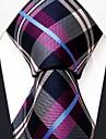 Casual verificare multicolor model mătase cravată pentru bărbați