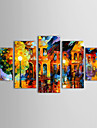 HANDMÅLAD Landskap Fem paneler Kanvas Hang målad oljemålning For Hem-dekoration