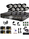 8 Channel Home and Office CCTV DVR System (P2P Online, 8 Utomhus Kamera)