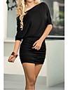 femei GGN lui sexy de pe umăr de culoare solidă maneci batwing rochie