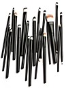 20pcs cosmétiques professionnels Pinceaux poudre fondation fard à paupières eyeliner outil de pinceau à lèvres