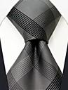 mătase afaceri check gri model cravată pentru bărbați