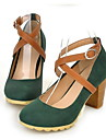 Chaussures Femme - Habillé - Noir / Vert / Rouge - Gros Talon - Bout Arrondi - Talons - Similicuir