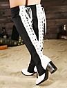 Bottes ( Noir/Blanc ) - Cuissardes - Bout pointu - Gros talon - Synthétique - pour FEMMES