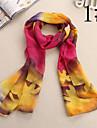 Ludy kvinnors ull chiffong blommor mönster scarf
