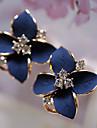 Miki kvinnors kristall blomma form örhängen