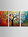 HANDMÅLAD Blommig/BotaniskModerna Tre paneler Kanvas Hang målad oljemålning For Hem-dekoration