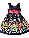 Girls Blue Dot Butterfly Fashion Cotton Party Pageant Casual Kids Clothing Dresses