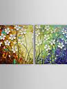 handmålade abstrakta oljemålningar med sträckt ram - set om 2