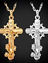 unisex stora coola jesus kors hängsmycke halsband 18k guld platina strass kristall