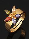 vackra lyxiga midi ring 18k chunky guldpläterad aaa + cz sten zirconia smycken för kvinnor justerbar storlek