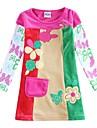 fată rochie de catifea copii rochie haine florale flori brodate cu copiii maneca albe rochii de imprimare aleator