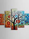 HANDMÅLAD Blommig/Botanisk Fem paneler Kanvas Hang målad oljemålning For Hem-dekoration