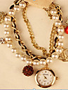 vallmo kvinnors elegant imitation pärla armband klocka