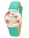 blomma mönster PU-armband kvinnor klänning klocka (grön)