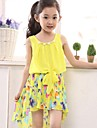 Girl's Yellow Chiffon Floral Sundress Party Birthday Pageant Children Clothes Lovely Dresses