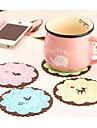 "Small Animal Flowers Silicone Cup Mat Heat Resistant to High Temperature Prevent Slippery 4""x4""x0.1""(Color Random)"