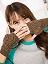 moda pentru femei taie frunze imprimare mănuși de tricotat cald
