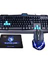 lysande optisk höghastighets usb trådbunden gaming tangentbord + mus (1600dpi) kostym