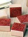 4cm x 4cm cru timbre en bois place romantique de modèle de fleur floral (motif aléatoire