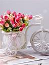 """#(2) 1 Gren Polyester / Plast Roser Bordsblomma Konstgjorda blommor #(L:6.7"""",H:3"""",W:6.2"""")"""