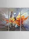 HANDMÅLAD Abstrakt Tre paneler Kanvas Hang målad oljemålning For Hem-dekoration