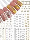 12 feuilles jolie fleur 3D ongles autocollants d'or&argent manucure autocollants nail art diy