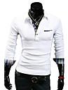 revers de modèle coréen personnalité revers manchette mince casual manches longues T-shirt o de lesen hommes