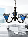 40W Antique Inspired Chandelier with 3 Lights - Blue Lampshade
