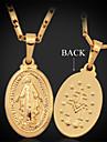 U7 jungfruliga mary jesus gud kors hängsmycke halsband 18k guld platina för kvinnor av hög kvalitet