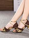 Chaussures de danse (Noir/Marron/Argent/Or) - Non personnalisable - Talon Large - Suédé/Cuir - Danse latine